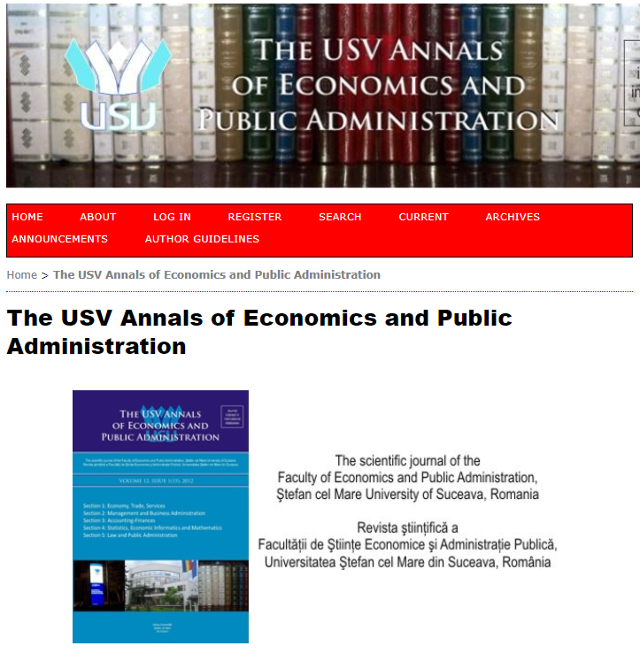The annals of Faculty of economics and Public administration