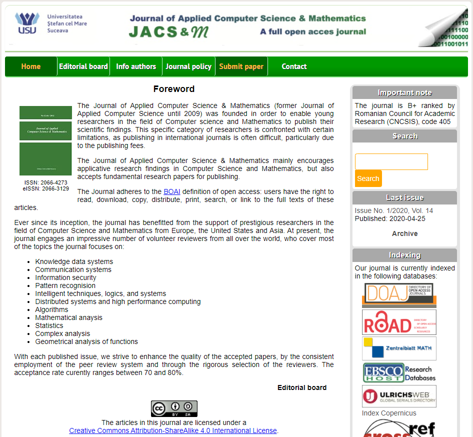 Journal of Applied Computer Science & Mathematics